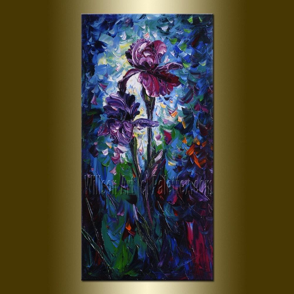 Konda Art Framed Handmade Purple Flower Oil Painting On: CUSTOM Iris Flower Original Oil Painting Textured Palette