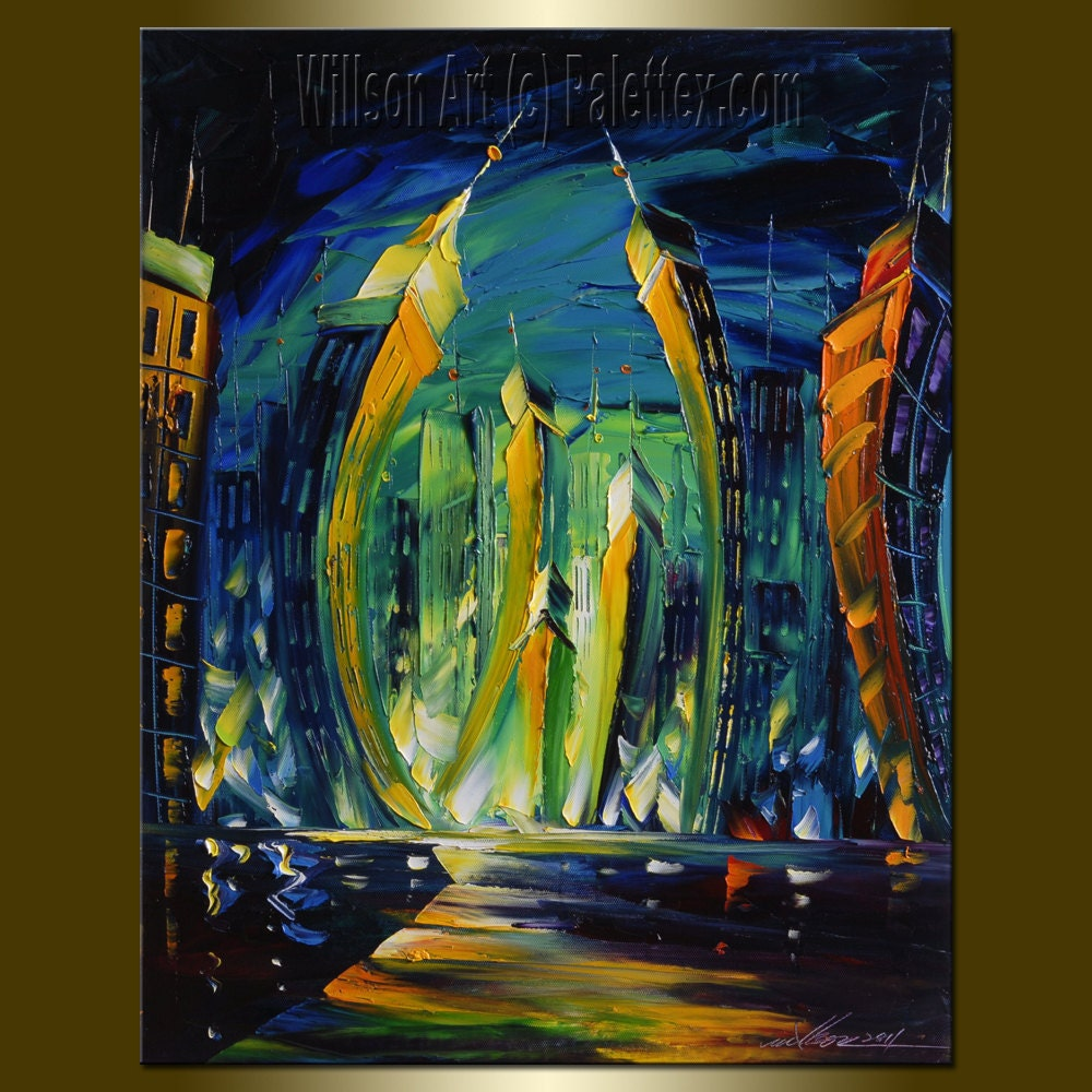 Original 16X20 Cityscape Oil Painting Palette Knife Textured