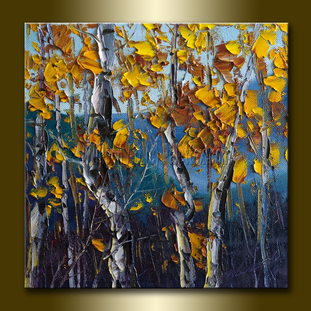 Autumn birch original textured palette knife landscape for Texture painting on canvas