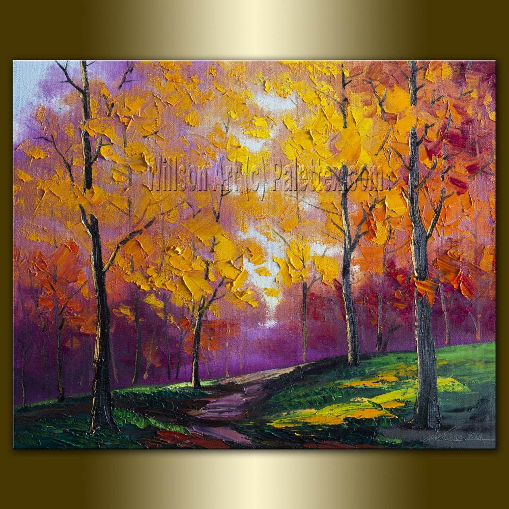 Modern canvas oil painting seasons textured palette knife for Contemporary oil paintings