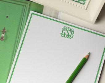 Personalized Notepad - Classic Monogram | Custom | Stationery | Monogram | Journal | Note Pad | Spots | Border | Green