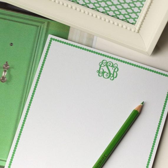 Personalized Notepad - Classic Monogram - Custom Stationery Monogram Journal Note Pad Spots Border Green