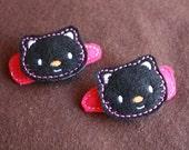 pair of felt black cat snap clips