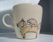 Handmade Coffee Mug- Fox and Hedgehogs