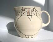 SALE- Handmade Ceramic Pitcher- Owl Creamer