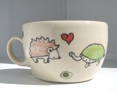 Teacup - Hedgehog and Turtle in Love Tea Cup - Handmade Small Coffee Mug