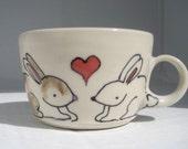 Handmade Ceramic Espresso Cup - Bunnies In Love - Ready to Ship