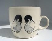 Handmade Ceramic Mug - Penguins Tea Cup - Handmade Coffee Mug - Ceramic Coffee Cup