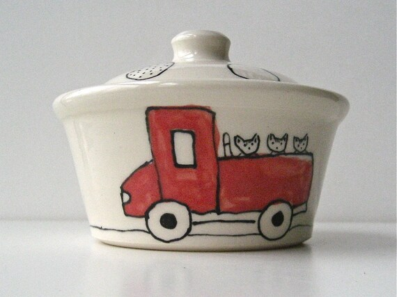 Lidded Serving Bowl- Cats in a Truck- Small Ceramic Serving Dish, Baking Dish, or Treasure Box