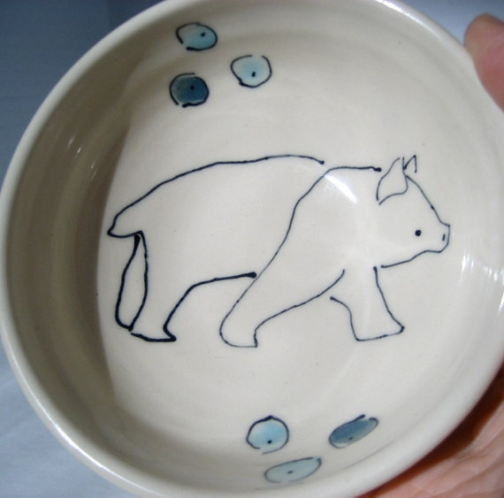 SALE - Handmade Ceramic Bowl- Polar Bear Bowl