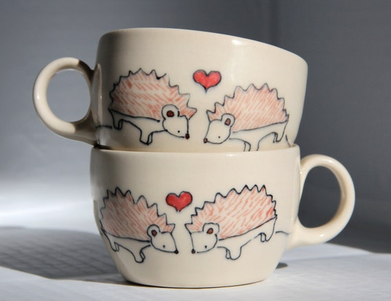 Reserved for Mary - Pair of Ceramic Teacups- Hedgehogs in Love