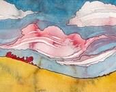 Sunset Facing East - Original Watercolor Painting