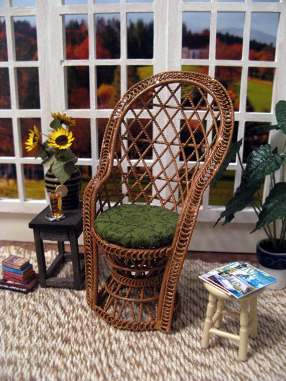 Dollhouse miniature wicker chair with upholstered cushion