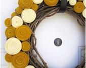 Gold and Cream rosette wreath