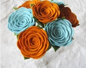 Orange and Sea felt rose bouquet