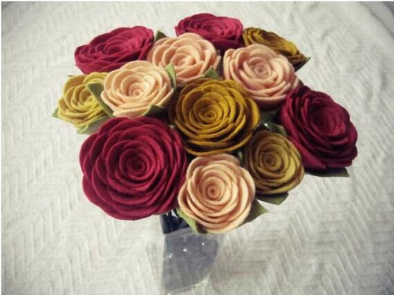 dozen felt rose bouquet-pick your colors