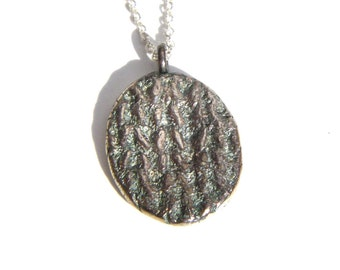 Knit Pendant Necklace Recycled Fine Silver OOAK