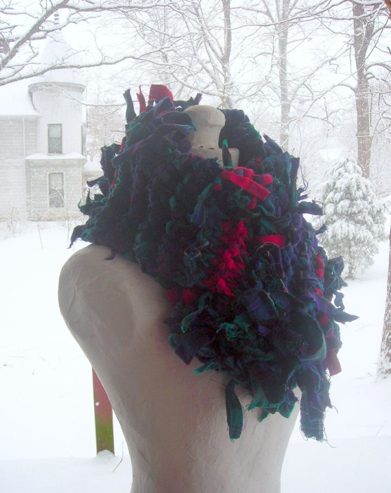 """Hand Knit Scarf, Upcycled Knitted Rag Scarf; Hand Knit Red, Blue, Green Scarf; 6"""" (15cm) Wide, 60"""" (152cm) Long, Free US Shipping"""