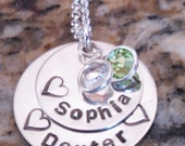 Personalized 2 Name Hearts Hand Stamped Silver Mother Grandmother Jewelry Necklace Grandchildren