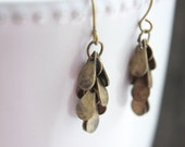 Dangle Casade Earrings Antique Brass Earwires Ear Hooks Teardrops Brown Tan Lightweight Chandelier