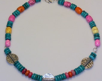 Turquoise & Candy Sterling Silver Necklace