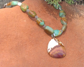 Desert Jasper Necklace and Turquoise Nugget Free Shipping