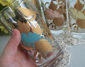 RESERVED LISTING 8 Vintage 1950s set of multicolor pastel drinking glasses with gold