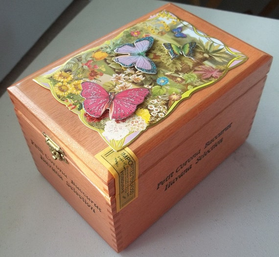 Upcycled cigar box art with beautiful 3 dimensional butterflies
