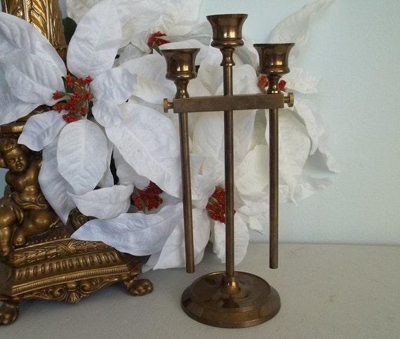 Vintage solid brass candlestick holder with adjustable sticks
