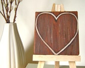 Woodgrain Heart Personalized Painting with Easel