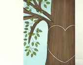Personalized Honey Tree with Green Leaves Original Art on 5 x 7 Canvas