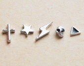 Mini Silver Tone Stud Earrings - Star and Triangle