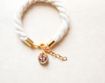 Subtle Sailorette Nautical Rope Bracelet with Anchor Charm - Golden / Silver Accent - Made To Order