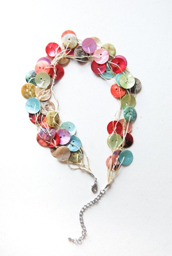 SALE ............ Vintage SEASHELL Buttons Necklace by ...