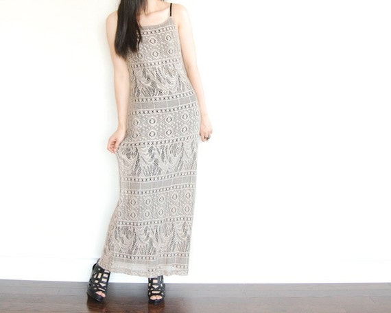 Vintage Enchanting Knit CROCHET Maxi Dress Boho Chic