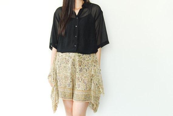 Vintage Sheer Black Button Up Blouse Short Sleeves