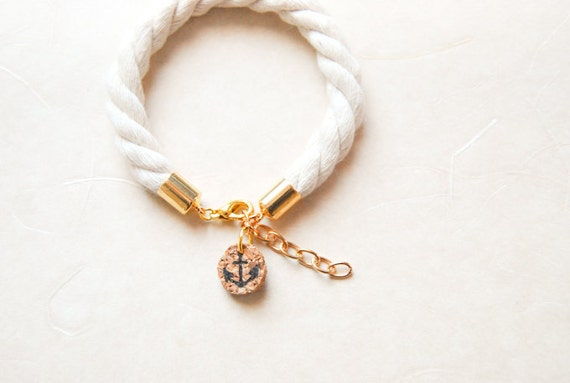 Subtle Sailorette Nautical Rope Bracelet with Anchor Charm - or Customized Tag with Initials - Golden / Silver Accent - Made To Order