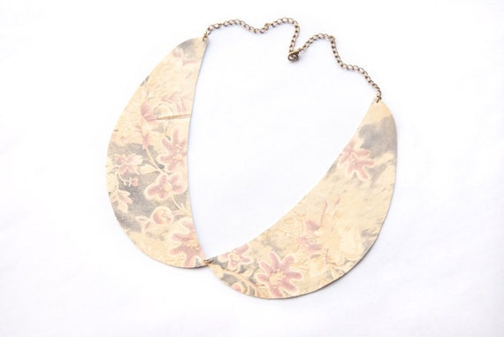 Floral Leather Peter Pan Collar Necklace - Last One