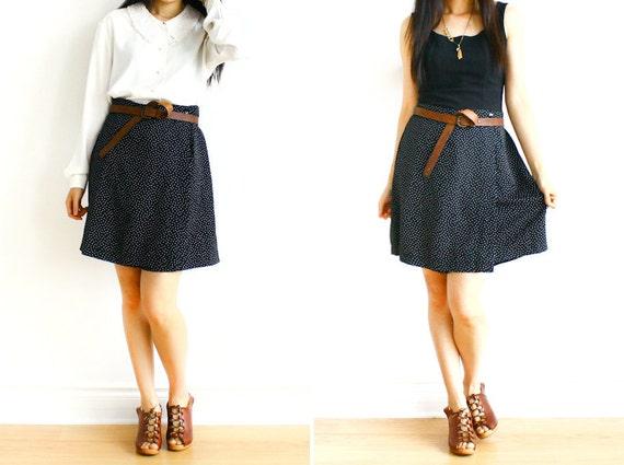 Back to School SALE 40% OFF - Vintage Mini Polka Dots Wrap Skirt Style Skort