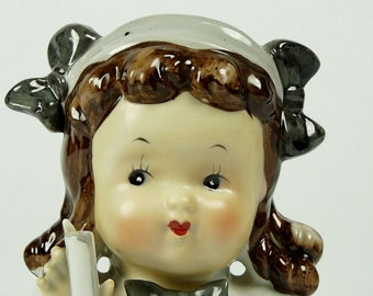Mid-Century Little Girl Head Vase Japan