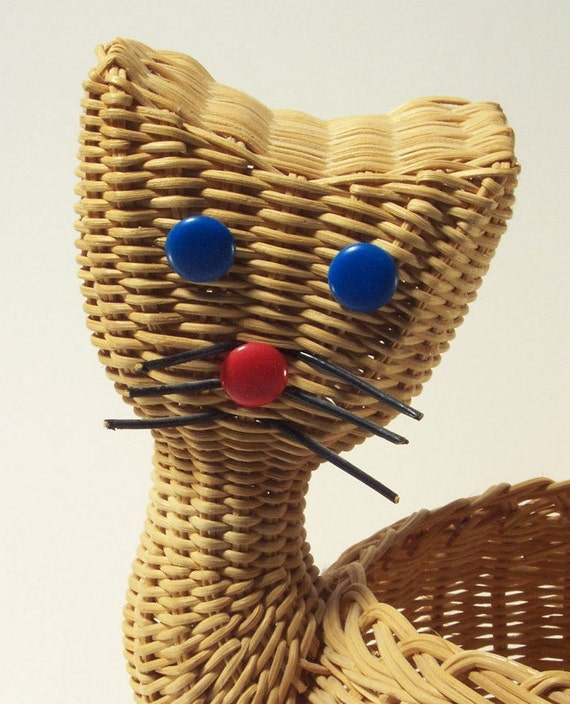 Mid-Century Rattan Cat Shaped Planter 1950's Kitsch