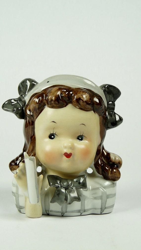 Mid-Century Little Girl Head Vase Japan