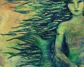 Mermaid, A4 Fine Art Mythological/Folktale Painting Print