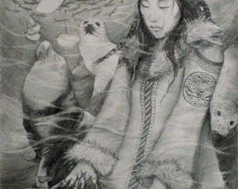 Sedna, Inuit Sea Goddess (Black & White version), A4 Fine Art Drawing Illustration Print