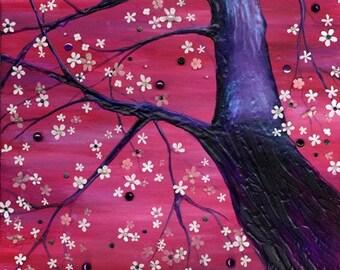 Black Cherry, A4 Fine Art Cherry Blossom Painting Print
