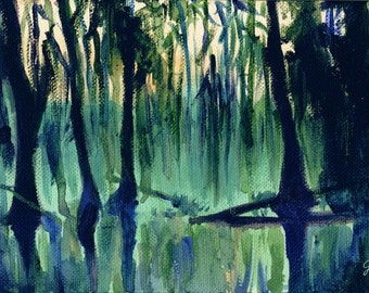Old Southern Swamp, A4 Fine Art Haunted Bayou Landscape Painting Print
