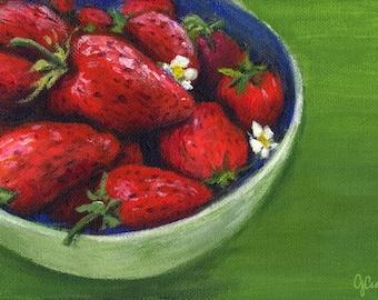 Strawberries, A4 Fine Art Still Life Painting Print