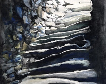 In the Walls, A4 Fine Art Historic Scottish/Hebridean Broch Watercolor Painting Print