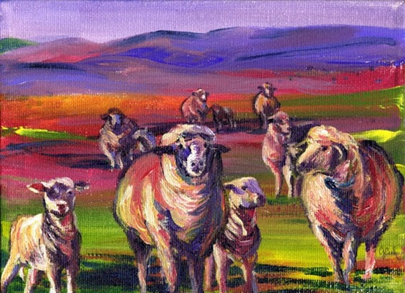 Sheepies, A4 Fine Art Animal Scottish Landscape Print