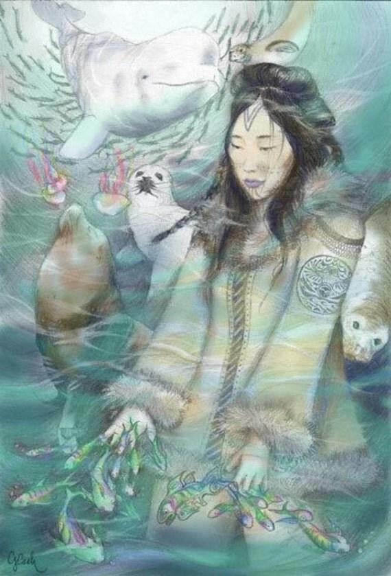 Sedna, Inuit Sea Goddess (Colour Version), A4 Fine Art Drawing Print